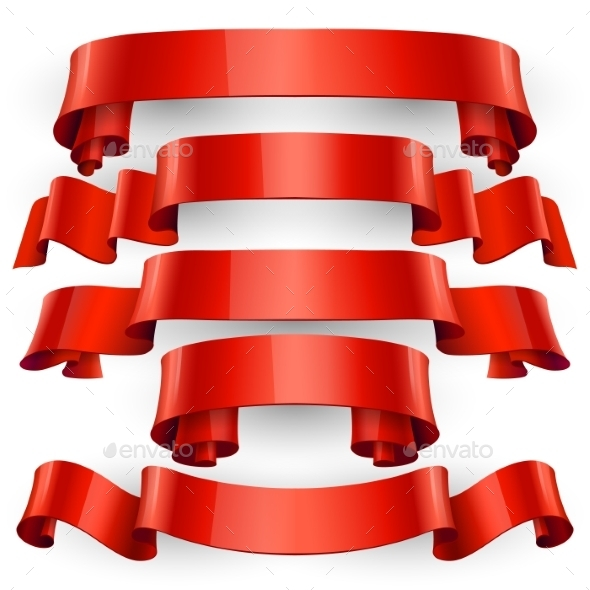 GraphicRiver Red Glossy Vector Ribbons 11453280