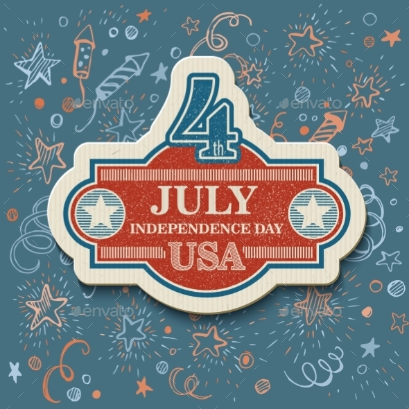 GraphicRiver Retro Typography Card Independence Day Vector 11453289