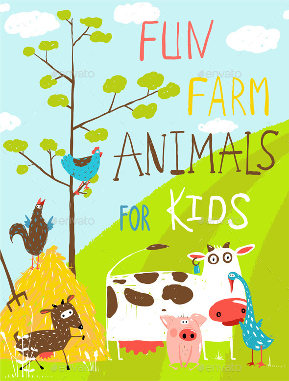 GraphicRiver Funny Cartoon Farm Animals Greeting Card 11453294