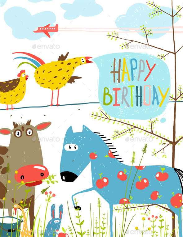 GraphicRiver Colorful Cartoon Farm Animals Birthday Greeting 11453309