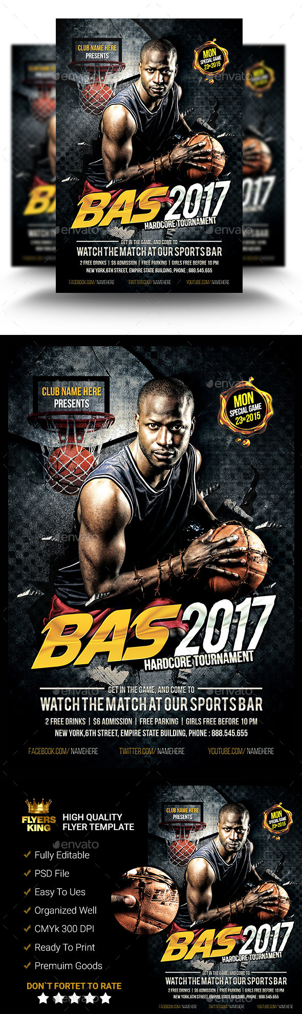 GraphicRiver Hardcore Basket Ball PSD Flyer 11453310