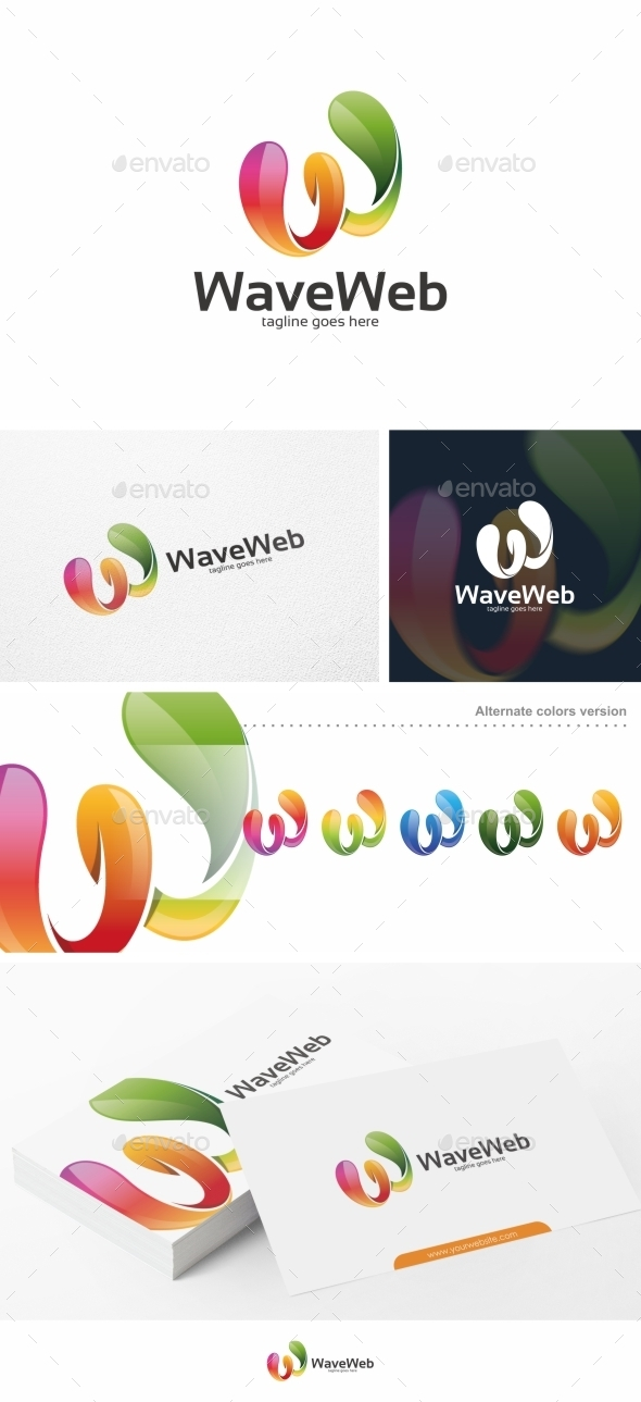 GraphicRiver Wave Web W Letter Logo Template 11453315