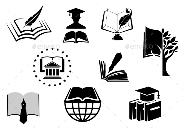 GraphicRiver Black And White Education Or Knowledge Icons 11453355