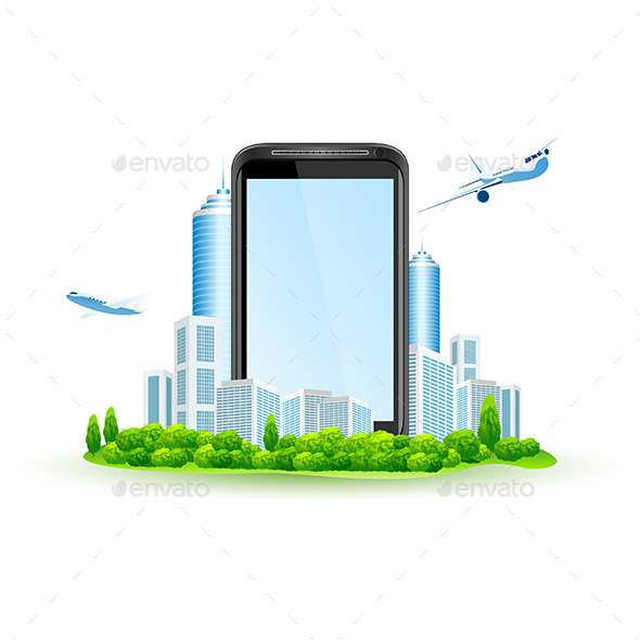 GraphicRiver Touch Screen Smart Phone with City and Airbuses 11453464