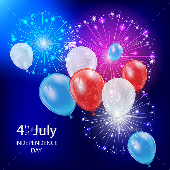 GraphicRiver Independence Day Balloons and Fireworks 11453478