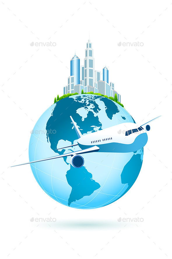 GraphicRiver Earth with Business City and Airbus 11453479