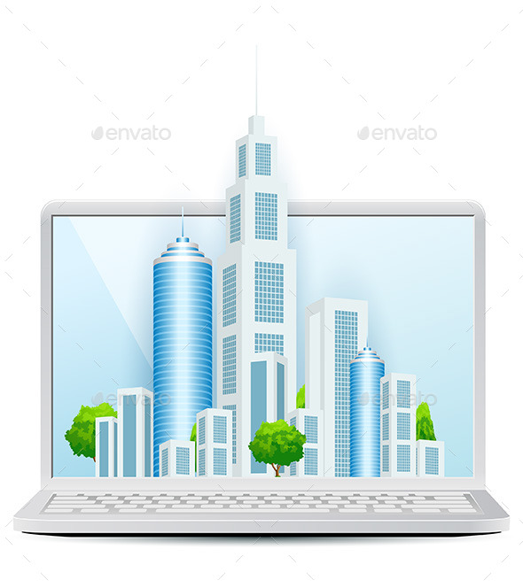 GraphicRiver Modern City on Laptop Isolated on White Background 11453487