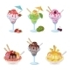Glasses And Cups With Ice Cream, Fruit, Berry - GraphicRiver Item for Sale