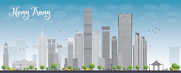 GraphicRiver Hong Kong Skyline with Blue Sky and Taxi 11453606