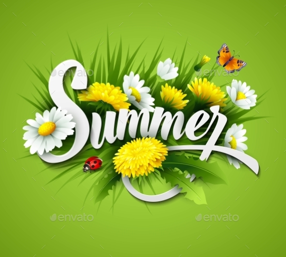 GraphicRiver Fresh Summer Background With Grass Dandelions 11453859