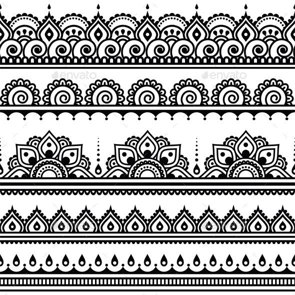 GraphicRiver Mehndi Indian Henna Tattoo Seamless Pattern 11453861