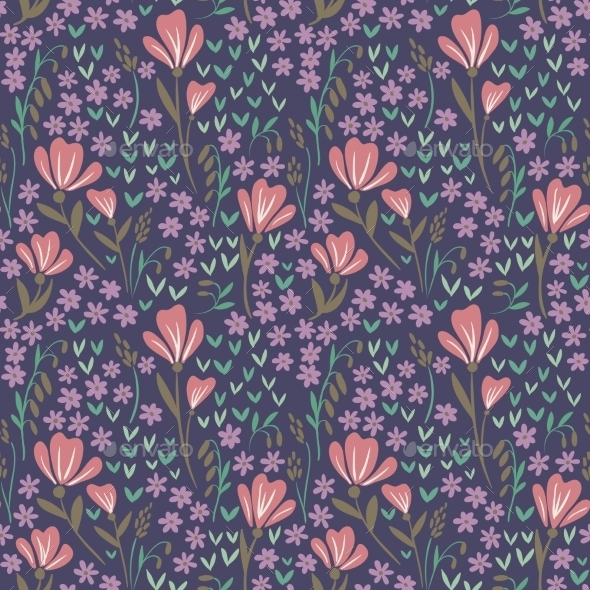 GraphicRiver Seamless Floral Pattern On Dark Background 11454265