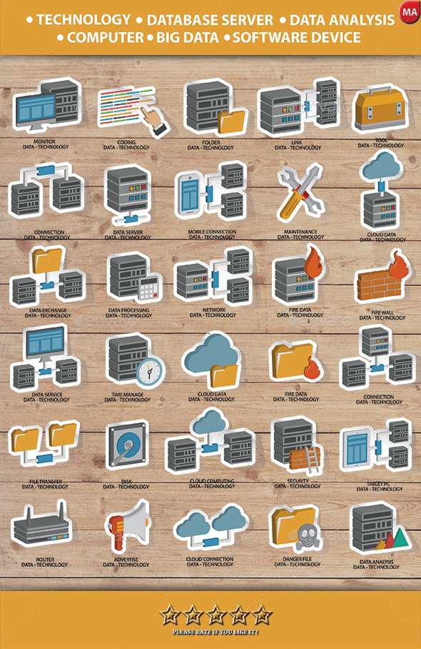 GraphicRiver Database Server & Computer System Icon set 11454373