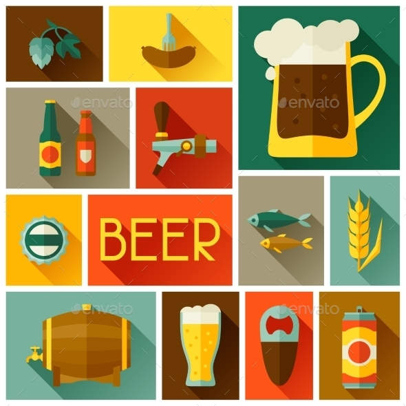 GraphicRiver Background with Beer Icons and Objects 11454524