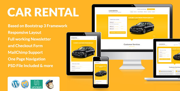 ThemeForest Car Rental Landing WordPress Theme 11454552