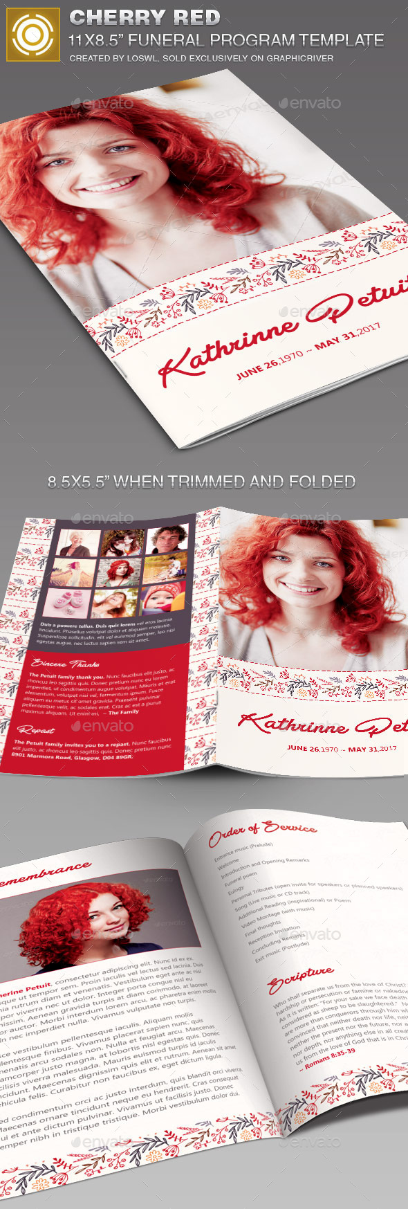 GraphicRiver Cherry Red Funeral Program Template 11454647