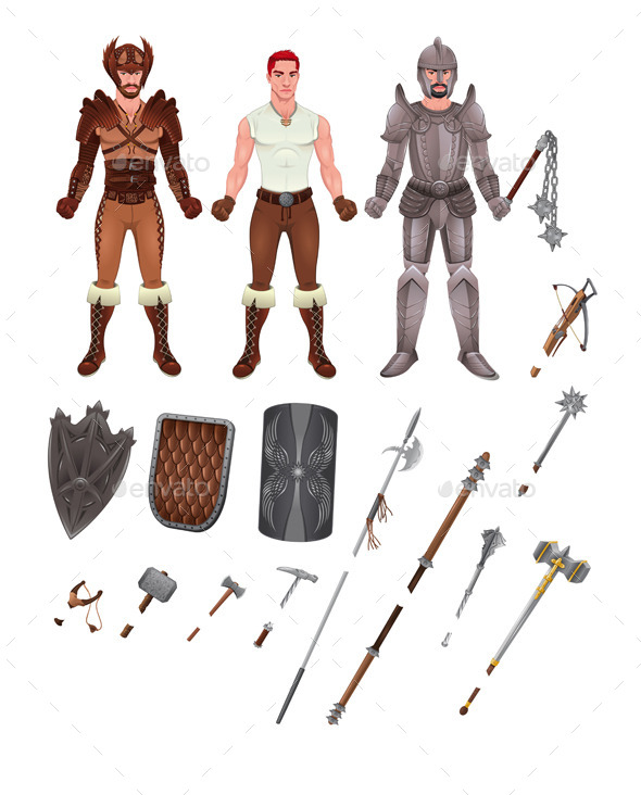 GraphicRiver Medieval Avatar with Armors and Weapons 11454919