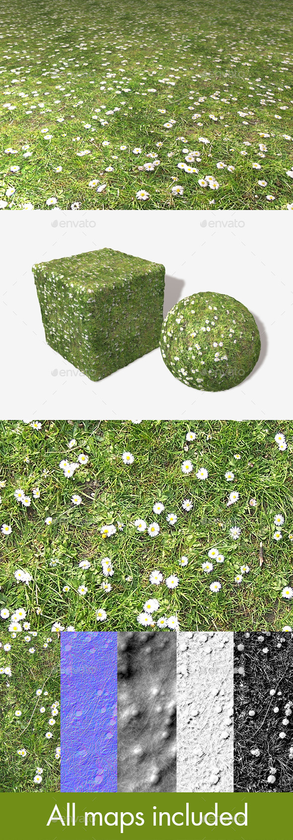 Daisies and Grass Seamless Texture