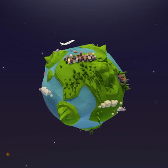 Cartoon Low Poly Earth Planet By AntonMoek 3DOcean