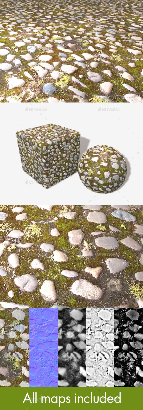 Old Mossy Cobbles Seamless Texture