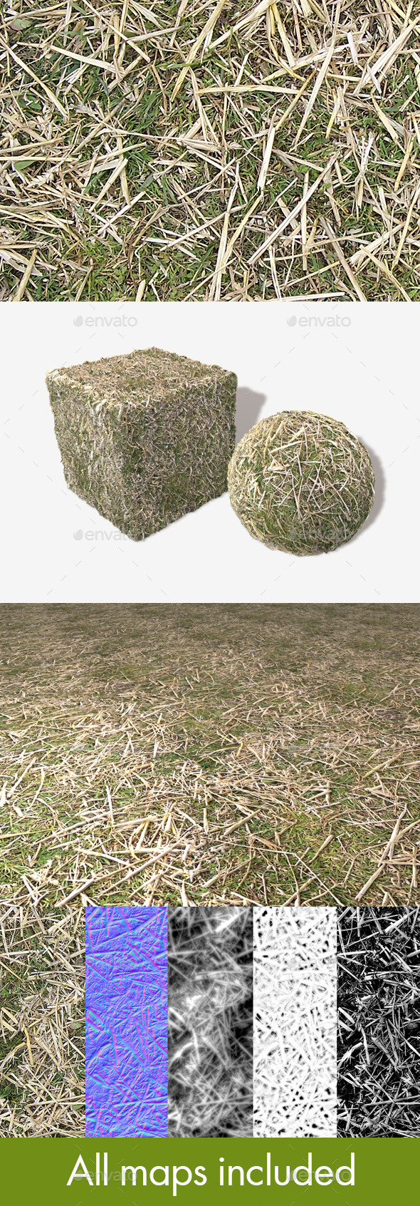 3DOcean Straw on Grass Seamless Texture 11454945