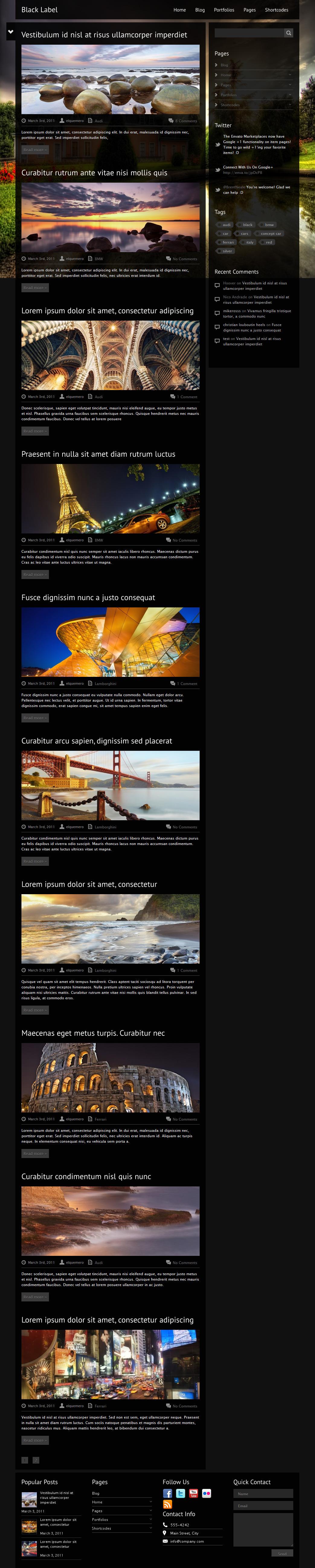 Black Label - Fullscreen Video & Image Background - Portfolio Unlimited Color Elements, 30+ Shortcodes, Amazing Shortcode Generator, Portfolio and Slider Custom Post Types, AJAX Contact Form, Video Documentation, Sidebar Generator