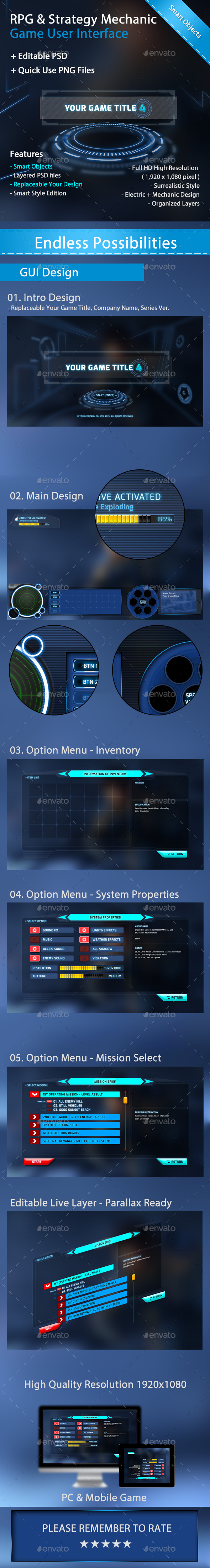 GraphicRiver RPG & Strategy Mechanic Game User Interface 11456331