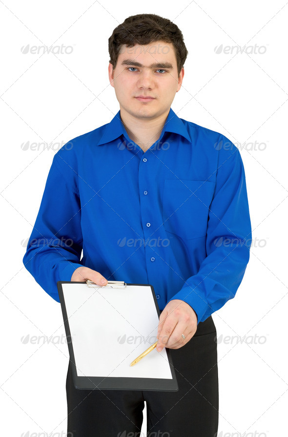 Guy with tablet and a pen - Stock Photo - Images