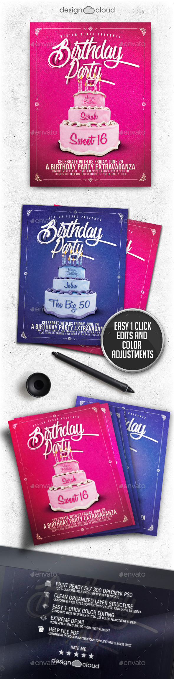 GraphicRiver Birthday Party Cake Flyer Template 11456367