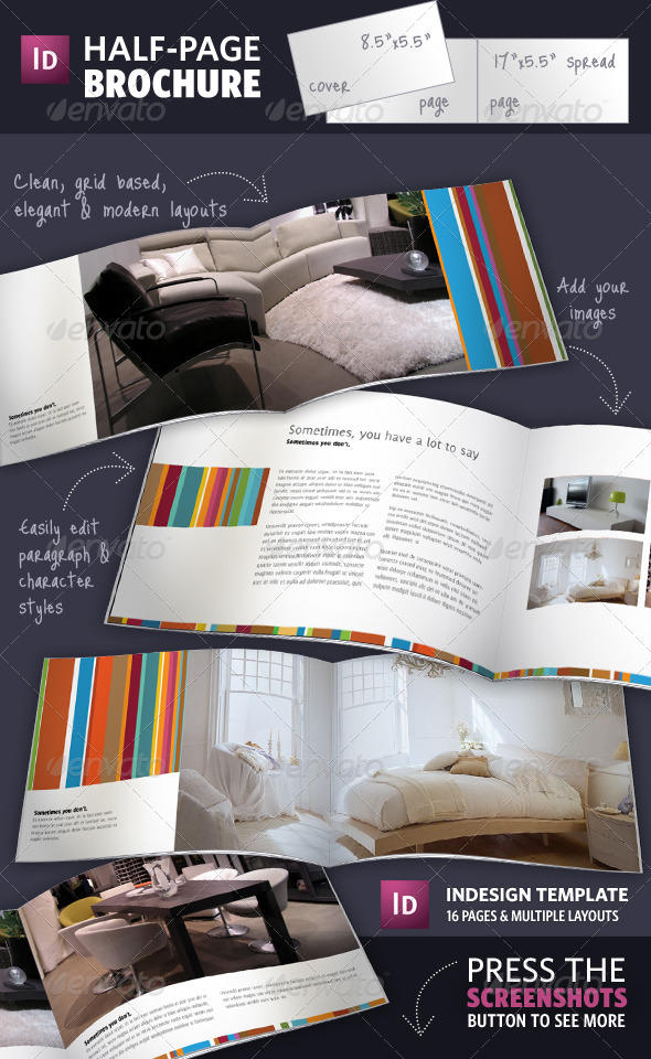 half page brochure indesign template by adriennepalmer graphicriver. Black Bedroom Furniture Sets. Home Design Ideas