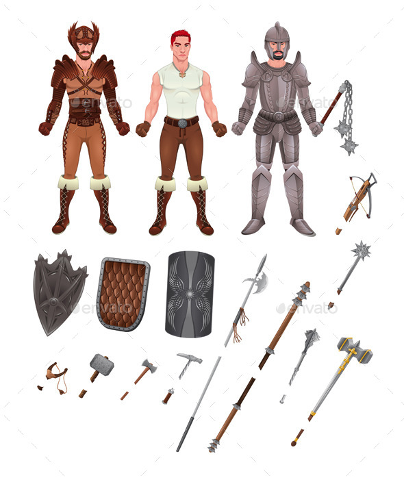 GraphicRiver Medieval Avatar with Armors and Weapons 11456989
