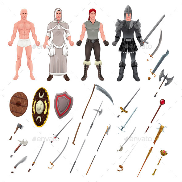 GraphicRiver Medieval Avatar with Armors and Weapons 11457040