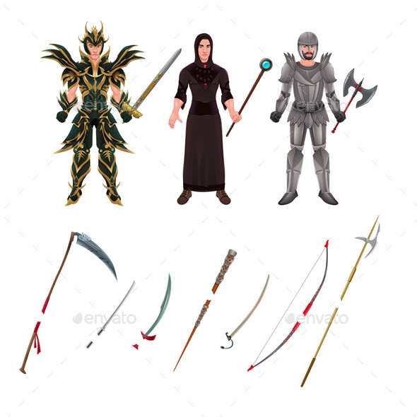 GraphicRiver Medieval Avatar with Armors and Weapons 11457088