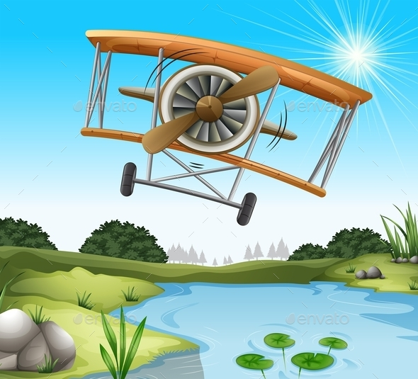 GraphicRiver A Plane Above the Pond 11457688