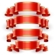 Red Glossy Vector Ribbons With a Yellow Stripe - GraphicRiver Item for Sale