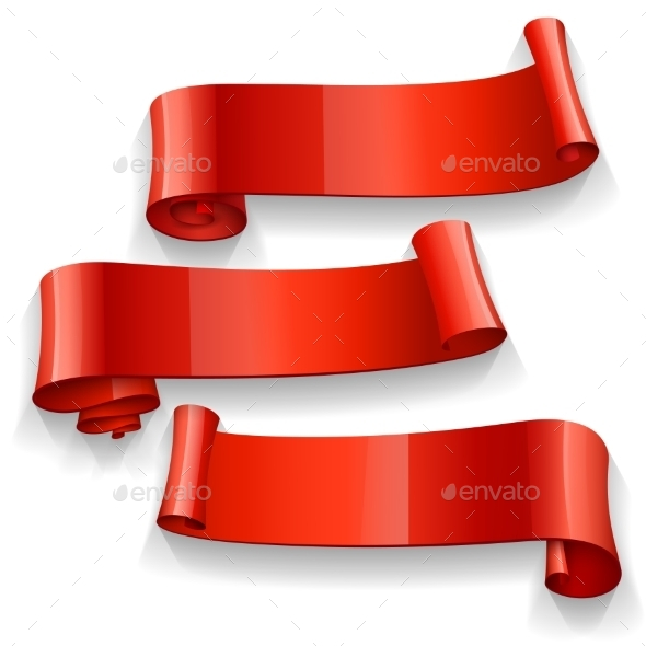 GraphicRiver Red Glossy Vector Ribbons Set 11457846