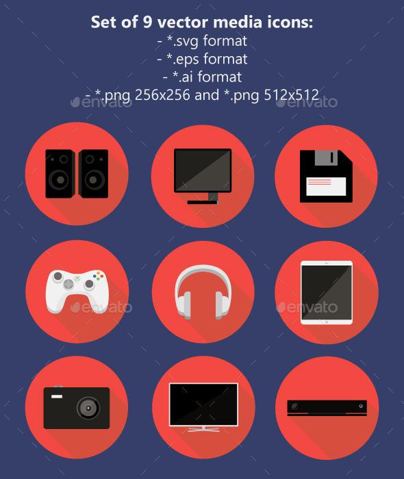 GraphicRiver Media Icons Set 11458070