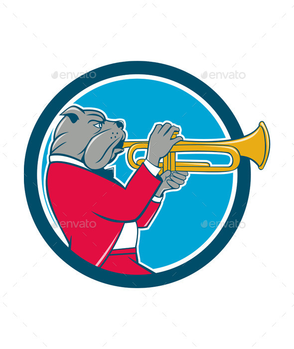 GraphicRiver Bulldog Blowing Trumpet Side Circle Cartoon 11458105