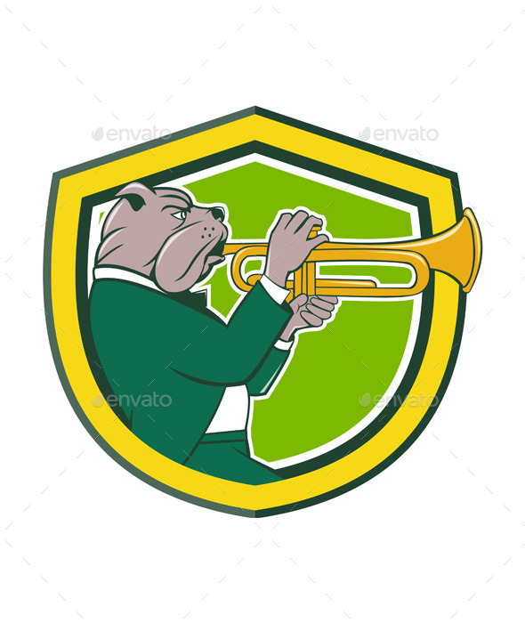 GraphicRiver Bulldog Blowing Trumpet Side Shield Cartoon 11458112
