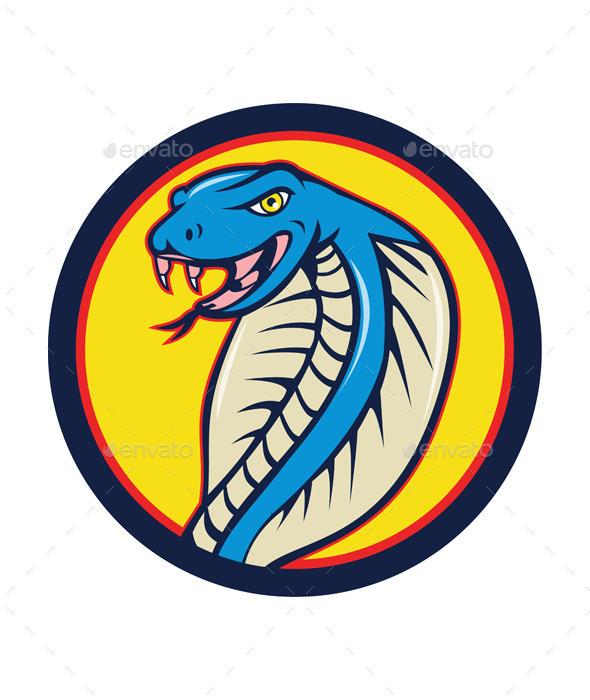 GraphicRiver Cobra Viper Snake Head Attacking Circle Cartoon 11458138
