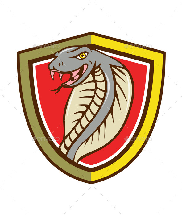 GraphicRiver Cobra Viper Snake Head Attacking Shield Cartoon 11458215