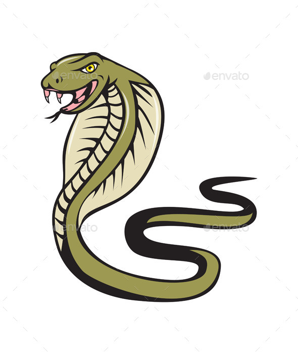 GraphicRiver Cobra Viper Snake Attacking Cartoon 11458219