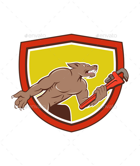GraphicRiver Wolf Plumber Monkey Wrench Shield Cartoon 11458358