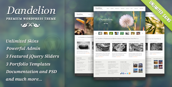 ThemeForest Dandelion Powerful Elegant WordPress Theme 136628