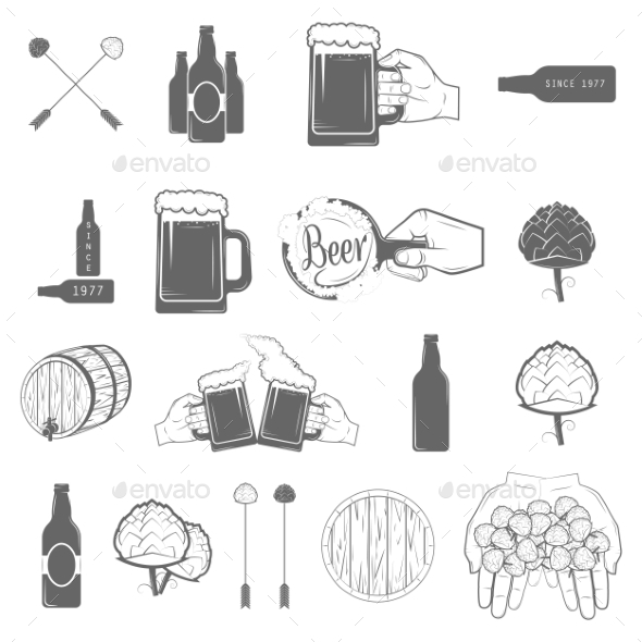 GraphicRiver Set of Two-Color Beer Craft Icons 11458646