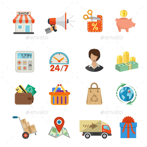 GraphicRiver Internet Shopping and Delivery Flat Icon Set 11458661