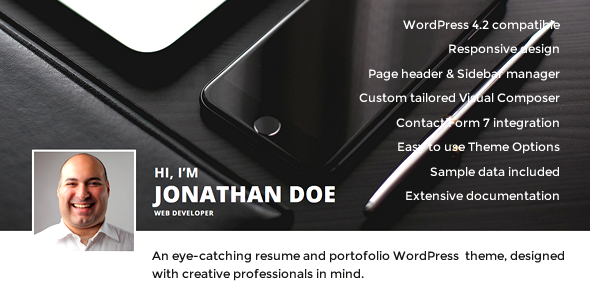 Hi, I'm - Responsive Resume / CV WordPress Theme