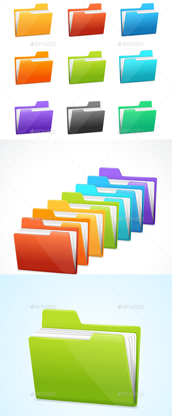 GraphicRiver Rainbow Folders Set 11458882