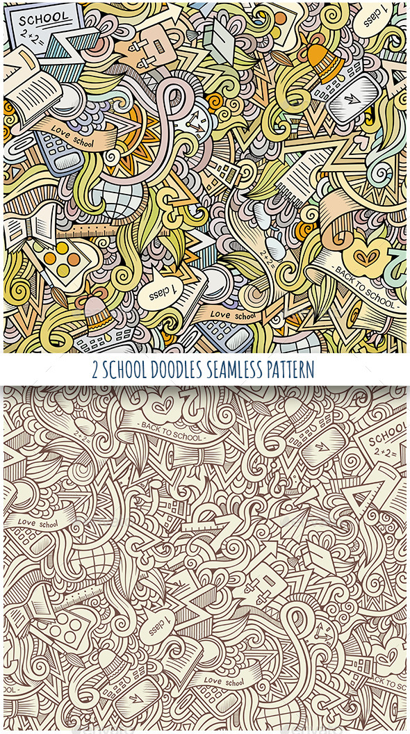 GraphicRiver 2 School Doodles Seamless Patterns 11458973