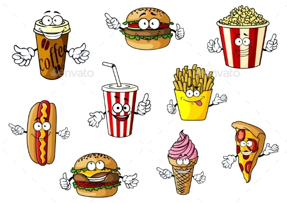 GraphicRiver Cartoon Fast Food and Takeaways Characters 11459060